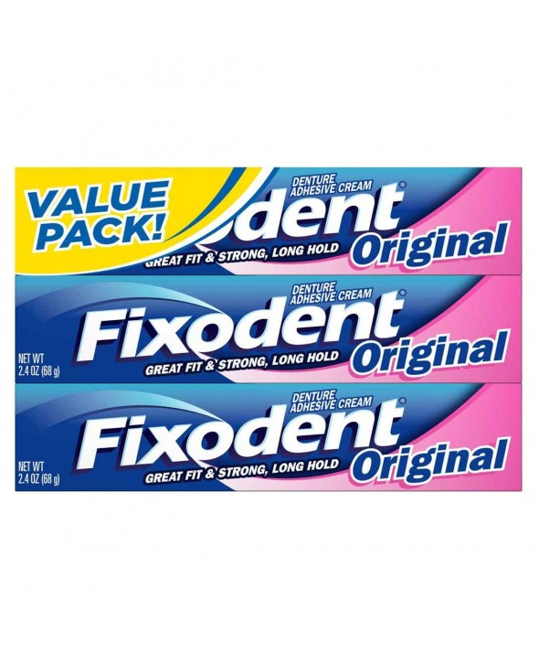 Fixodent® Denture Adhesive Original - 2.4 oz (Pack of 3)